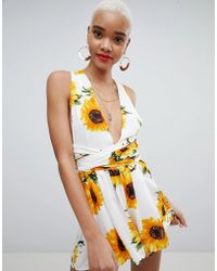 PrettyLittleThing - Sunflower Print Tie Waist Playsuit - Lyst