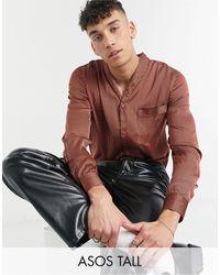 ASOS Tall Regular Fit Shawl Collar Shirt - Multicolour