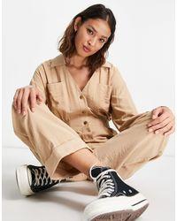 ASOS Long Sleeve Shirred Waist Boilersuit - Natural
