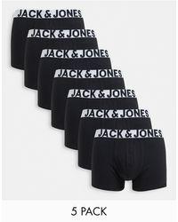 Jack & Jones 7 Pack Trunks With Bold Waistbands - Black