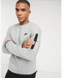 Nike Серый Флисовый Свитшот С Круглым Вырезом Tech