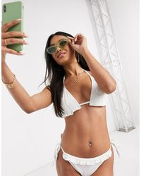 ASOS Mix And Match Broderie Frill Triangle Bikini Top - White