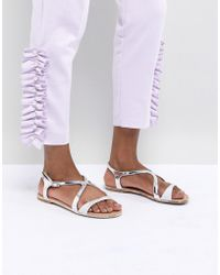 Call It Spring - Silver Flat Sandals - Lyst