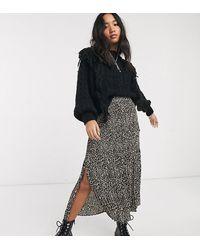 TOPSHOP Petite Pleated Midi Skirt - Brown