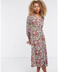 ONLY Розовое Чайное Платье Миди На Пуговицах С Цветочным Принтом -мульти - Многоцветный