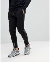Boohoo - Skinny Fit Joggers With Front Zip In Black - Lyst