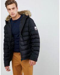 Threadbare Puffer Jacket With Faux Fur Trim Hood - Black