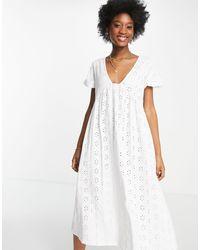 ASOS Broderie V Neck Midi Dress With Empire Seam Detail - White