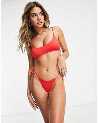 Free Society - Slip bikini con laccetti laterali sgambati rossi - Lyst