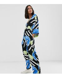 Native Youth Exclusive Relaxed Jumpsuit In Abstract Spot Print - Blue