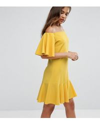 John Zack Off Shoulder Mini Dress With Fluted Hem Detail - Yellow