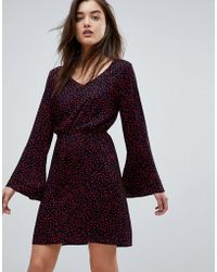 ONLY - Anika Print Flounce Dress With Flared Sleeve - Lyst