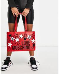 Love Moschino Tote Met Logo En Sterren - Rood