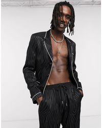 ASOS Traje estilo pijama ajustado con ribetes en negro