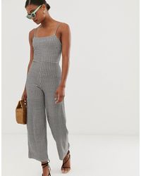 Stradivarius Gingham Check Jumpsuit With Back Bow - Gray