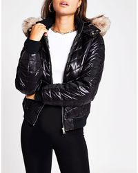 River Island High Shine Padded Bomber With Faux Fur Hood - Black