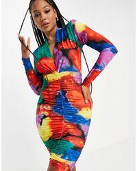 John Zack Эксклюзивное Присборенное Платье Мини С Глубоким Вырезом И Радужным Мраморным Принтом -разноцветный - Многоцветный