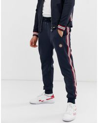 Pretty Green - Ribbed Side Stripe Track Pant In Navy - Lyst
