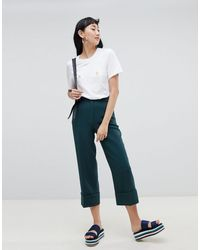Monki Cropped Tailored Pants - Green