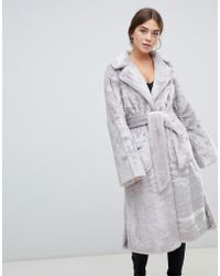 Glamorous - Belted Faux Fur Coat - Lyst