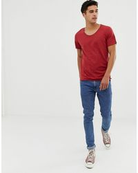 SELECTED Scoop Neck Rolled Hem T-shirt - Red
