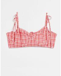Warehouse Gingham Underwired Bikini Top