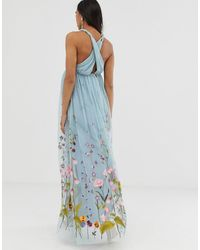 ASOS Asos Design Maternity Tulle Maxi Dress With Delicate Floral Embroidery And Twist Straps - Blue