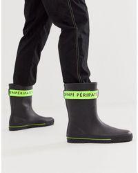 ASOS Черные Резиновые Сапоги С Зеленой Лентой - Черный