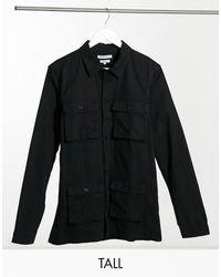 Another Influence Tall Co-ord Utility Over Shirt - Black