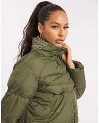 The Couture Club Reflective Panel Puffer Jacket - Green