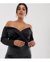 Boohoo Wrap Front Structured Body In Black