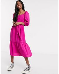 New Look Square Neck Puff Sleeve Tiered Midi - Pink