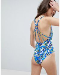 ASOS - Strappy Ring Back Swimsuit In Pansy Print - Lyst