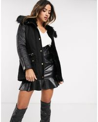 River Island Wool Coat With Faux Leather Sleeves - Black