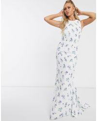 Jarlo Vestito lungo blu a fiori con schiena scoperta