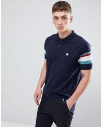 Pretty Green - Polo Shirt With Striped Sleeves In Navy - Lyst