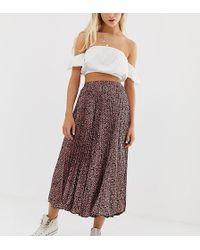 2a566397f0 Pull&Bear - Pleated Midi Skirt In Animal Print - Lyst