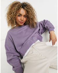 Weekday Easy Organic Cotton Co-ord Cropped Sweatshirt With Drop Shoulder - Purple