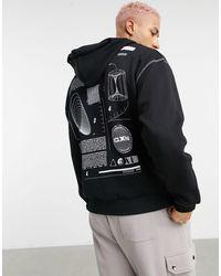 ASOS Sudadera negra extragrande con capucha, estampado grande en la espalda y costuras en contraste - Gris