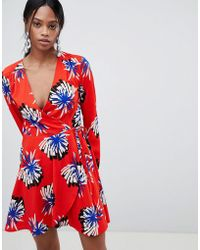 Liquorish - Floral Print Wrap Dress - Lyst