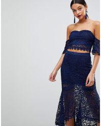 Club L - Crochet Lace Bardot Short Sleeve Top - Lyst