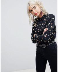 ASOS - Design Western Fringe Back Shirt In Retro Ditsy - Lyst