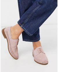 ASOS – Mosely – Gewebte Schnürschuhe aus Wildleder - Pink