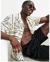 Pull&Bear Camicia con colletto con rever e stampa cachemire colore crema - Giallo