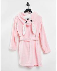 Brave Soul – Fleece-Morgenmantel mit Häschendetail - Pink