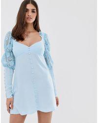 For Love & Lemons For Love & Lemons Emanuelle Swing Dress In Blue
