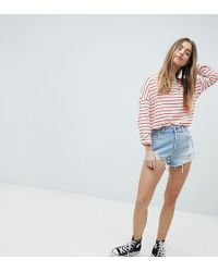 ASOS - Denim Short With Raw Hem In Light Blue Wash With Rips - Lyst