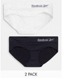 Reebok Pack de 2 braguitas negras y blancas sin costuras de - Negro