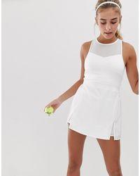 South Beach Белое Теннисное Платье С Высоким Воротом И Плиссированной Юбкой - Белый