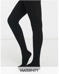 Lindex Черные Трикотажные Колготки Для Будущих Мам Из Экологичной Вискозы С Узором «косичка» -черный Цвет